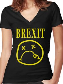 SADFACE GRUNGE BREXIT Women's Fitted V-Neck T-Shirt