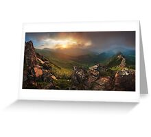 Sunset in Carapthian Mountains. Ukraine Greeting Card
