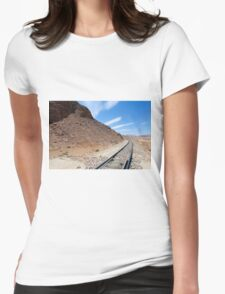Hejaz (Al-Hijaz) Ottoman train tracks in wadi rum, Jordan Womens Fitted T-Shirt