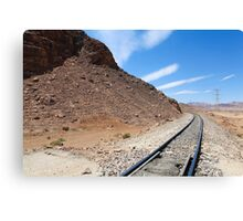 Hejaz (Al-Hijaz) Ottoman train tracks in wadi rum, Jordan Canvas Print