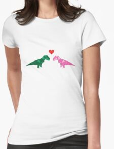 DINO LOVE - ORIGAMI Womens Fitted T-Shirt