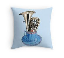 Music is Everyone's Cup of Tea - Tuba Throw Pillow