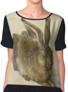 Albrecht Durer - Hare 1502. Young hare painting: cute hare,  hares,  rabbits,  animals,  bunnies,  realistic ,  wild,  animal,  rabbit,  wild animals,  fur  Chiffon Top