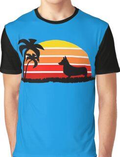 Corgi on Sunset Beach Graphic T-Shirt