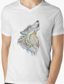 Head Of The Howling Wolf Mens V-Neck T-Shirt