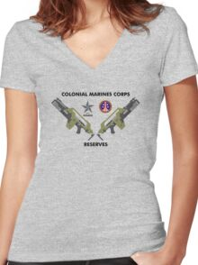 Colonial Marines Corps Reserves Women's Fitted V-Neck T-Shirt