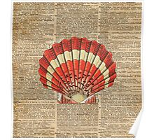 Red and White Ocean Sea Shell Dictionary Book Page Art Poster