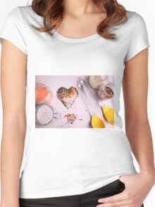 Red white, and black lentils forming a valentine heart shape for healthy living  Women's Fitted Scoop T-Shirt