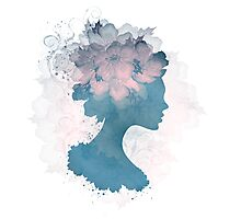 Beautiful Silhouette Floral Woman Photographic Print