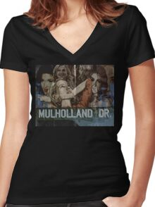 Mulholland Drive Poster Women's Fitted V-Neck T-Shirt