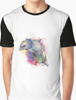 Floral Dolphin - Galaxy variant Graphic T-Shirt