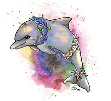 Floral Dolphin - Galaxy variant Photographic Print