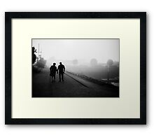 Advance in the Fog Framed Print