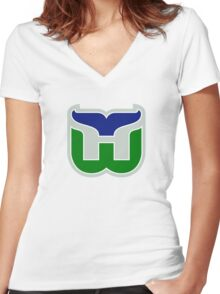 HARTFORD WHALERS HOCKEY RETRO Women's Fitted V-Neck T-Shirt