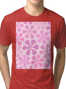 Abstract Flowers in Pinks Tri-blend T-Shirt