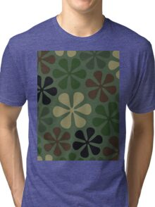 Abstract Flower Camouflage Tri-blend T-Shirt