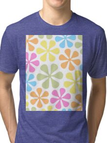Abstract Flowers Bright Color Mix Tri-blend T-Shirt