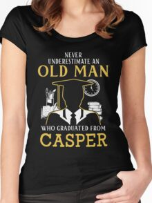 Never Underestimate An Old Man Who Graduated From Casper College Women's Fitted Scoop T-Shirt