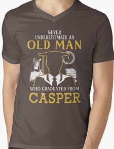 Never Underestimate An Old Man Who Graduated From Casper College Mens V-Neck T-Shirt