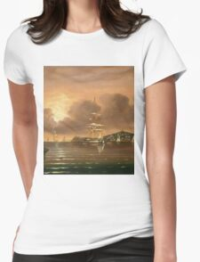 Thomas Chambers - Threatening Sky, Bay Of New York. Sea landscape: sea view,  yachts,  holiday, sailing boat, coast seaside, waves and beach, marine, seascape, sun clouds, nautical, ocean Womens Fitted T-Shirt