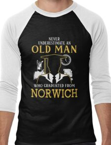 Never Underestimate An Old Man Who Graduated From Norwich University Men's Baseball ¾ T-Shirt