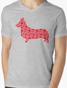 Valentine Hearts Corgi Mens V-Neck T-Shirt