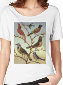 Thomas Coke Ruckle - Birds. Bird painting: cute fowl, fly, wings, lucky, pets, wild life, animal, birds, little small, bird, nature Women's Relaxed Fit T-Shirt