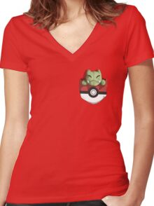 Pocket Substitute (Pokeball) Women's Fitted V-Neck T-Shirt
