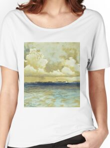 Thomas Moran - Bahama Island Light. Sea landscape: sea view,  yachts,  holiday, sailing boat, coast seaside, waves and beach, marine, seascape, sun clouds, nautical, ocean Women's Relaxed Fit T-Shirt