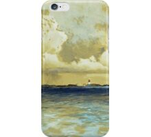 Thomas Moran - Bahama Island Light. Sea landscape: sea view,  yachts,  holiday, sailing boat, coast seaside, waves and beach, marine, seascape, sun clouds, nautical, ocean iPhone Case/Skin