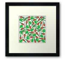 Pineapple Palm Trees and Tropical Summer Leaves Framed Print