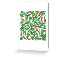 Pineapple Palm Trees and Tropical Summer Leaves Greeting Card