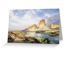 Thomas Moran - Green River, Wyoming. Mountains landscape: mountains, rocks, rocky nature, sky and clouds, trees, peak, forest, Canyon, hill, travel, hillside Greeting Card