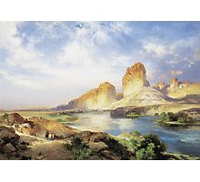 Thomas Moran - Green River, Wyoming. Mountains landscape: mountains, rocks, rocky nature, sky and clouds, trees, peak, forest, Canyon, hill, travel, hillside Photographic Print