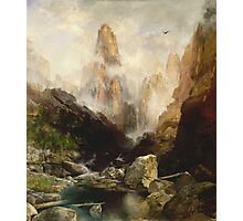 Thomas Moran - Mist In Kanab Canyon, Utah . Mountains landscape: mountains, rocks, rocky nature, sky and clouds, trees, peak, forest, Canyon, hill, travel, hillside Photographic Print
