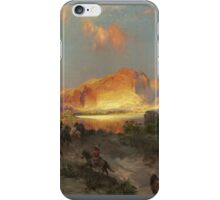 Thomas Moran - Green River Cliffs, Wyoming. Mountains landscape: mountains, rocks, rocky nature, sky and clouds, trees, peak, forest, Canyon, hill, travel, hillside iPhone Case/Skin