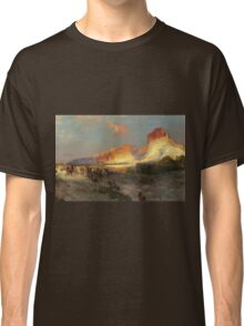 Thomas Moran - Green River Cliffs, Wyoming. Mountains landscape: mountains, rocks, rocky nature, sky and clouds, trees, peak, forest, Canyon, hill, travel, hillside Classic T-Shirt