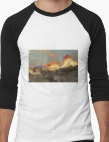 Thomas Moran - Green River Cliffs, Wyoming. Mountains landscape: mountains, rocks, rocky nature, sky and clouds, trees, peak, forest, Canyon, hill, travel, hillside Men's Baseball ¾ T-Shirt