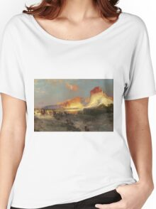 Thomas Moran - Green River Cliffs, Wyoming. Mountains landscape: mountains, rocks, rocky nature, sky and clouds, trees, peak, forest, Canyon, hill, travel, hillside Women's Relaxed Fit T-Shirt