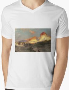 Thomas Moran - Green River Cliffs, Wyoming. Mountains landscape: mountains, rocks, rocky nature, sky and clouds, trees, peak, forest, Canyon, hill, travel, hillside Mens V-Neck T-Shirt