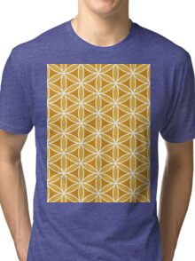 Flower of Life Pattern Oranges & White Tri-blend T-Shirt
