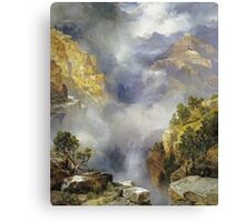 Thomas Moran - Mist In The Canyon. Mountains landscape: mountains, rocks, rocky nature, sky and clouds, trees, peak, forest, rustic, hill, travel, hillside Canvas Print