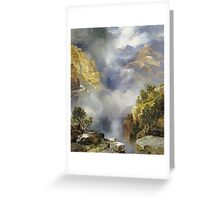 Thomas Moran - Mist In The Canyon. Mountains landscape: mountains, rocks, rocky nature, sky and clouds, trees, peak, forest, rustic, hill, travel, hillside Greeting Card