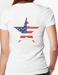 AMERICAN, STAR, Stars & Stripes, America, US, USA, on WHITE Womens Fitted T-Shirt