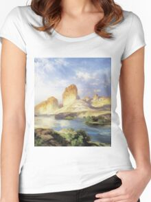 Thomas Moran - Green River, Wyoming. Mountains landscape: mountains, rocks, rocky nature, sky and clouds, trees, peak, forest, Canyon, hill, travel, hillside Women's Fitted Scoop T-Shirt