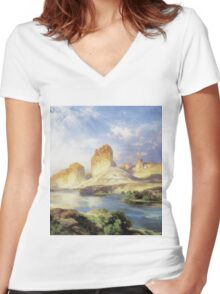 Thomas Moran - Green River, Wyoming. Mountains landscape: mountains, rocks, rocky nature, sky and clouds, trees, peak, forest, Canyon, hill, travel, hillside Women's Fitted V-Neck T-Shirt