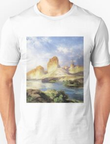 Thomas Moran - Green River, Wyoming. Mountains landscape: mountains, rocks, rocky nature, sky and clouds, trees, peak, forest, Canyon, hill, travel, hillside Unisex T-Shirt