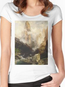 Thomas Moran - Mist In Kanab Canyon, Utah . Mountains landscape: mountains, rocks, rocky nature, sky and clouds, trees, peak, forest, Canyon, hill, travel, hillside Women's Fitted Scoop T-Shirt