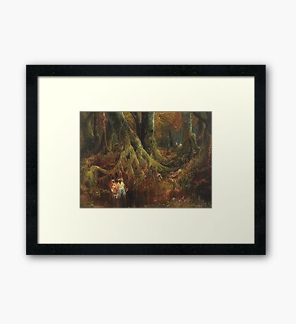 Thomas Moran - Slave Hunt. Forest view: forest , trees,  fauna, nature, birds, animals, flora, flowers, plants, field, weekend Framed Print