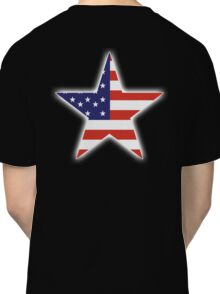 AMERICAN, STAR, Stars & Stripes, America, US, USA, on BLACK Classic T-Shirt
